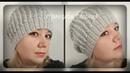 Женская шапка объемным узором, вязание спицами