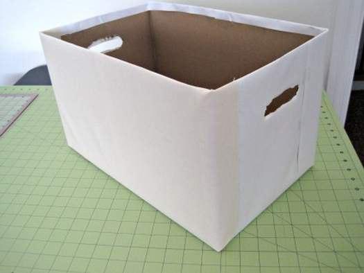 Как сделать ящик для хранения из картона и ткани. Мастер-класс...