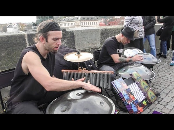 Multiple Hang Instrument Steel Pans Played on Charles Bridge. Prague Street Music
