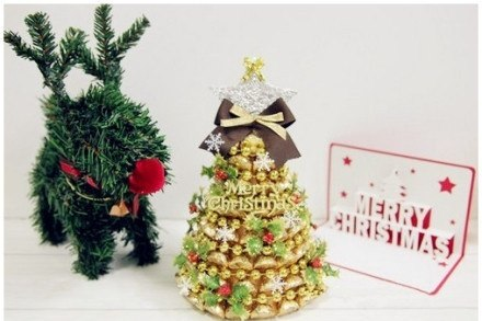 Предлагаю вашему вниманию мастер-класс по изготовлению новогодней елочки из конфет.  Источник зарубежный, но думаю...