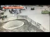 Худший скутерист в Китае. Четыре аварии за 1 минуту