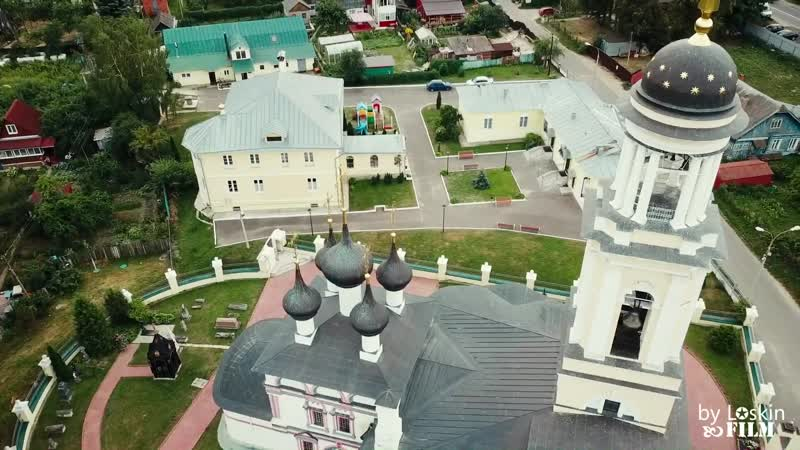 Футаж лето в Подмосковье, Парк г.Чехова с квадрокоптера, аэросъёмка, с дрона,