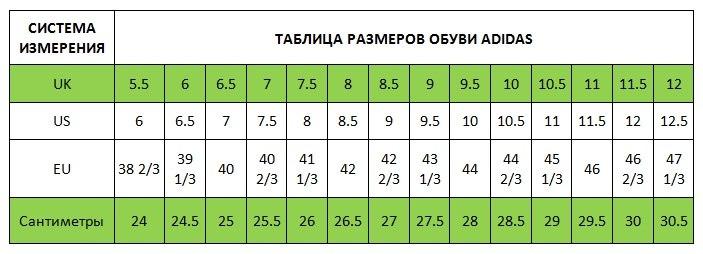ТАБЛИЦА РАЗМЕРОВ ФУТБОЛЬНОЙ