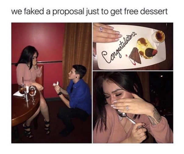 — Мы разыграли помолвку, чтобы получить бесплатный десерт.