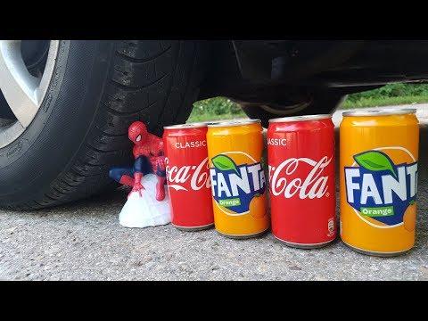 Experiment Car Vs Coca Cola Vs Fanta Vs Spiderman
