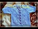 Весенняя детская кофта регланом сверху на застежке вязание спицами