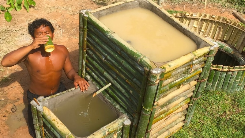 Make Water filter in the forest by ancient skill ( wells bamboo )
