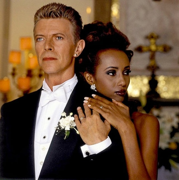 Свадебное фото Дэвида Боуи и Иман.