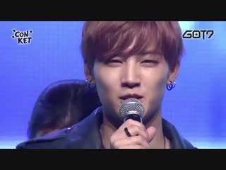 omg how cute is Jaebum when he put up the wrong hand for GOT7 -1.mp4