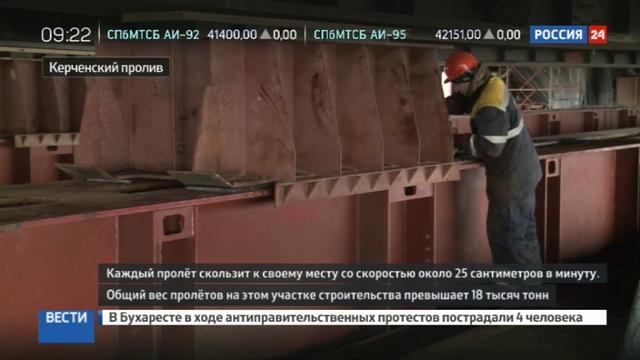 Новости на Россия 24 • Пролеты Крымского моста вышли в море