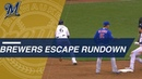 Cain's baserunning, traffic direction lead Brewers