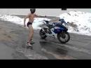 Мото токсикоз,голый мотоциклист зимой, Moto toxicosis,naked biker winter