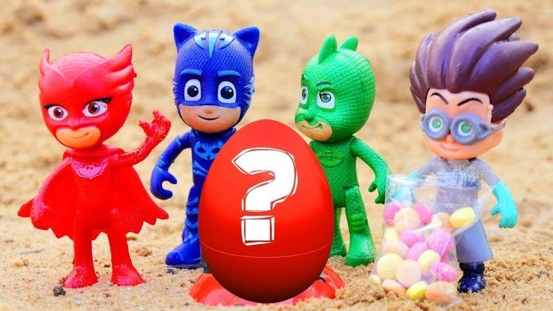 Huevo sorpresa para héroes en pijamas Vídeo de juguetes