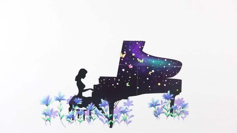 Piano Performance Girl Papillon Wall Sticker Vinyl DIY Mural Art for Music Classroom Bedroom Living Room Decoration