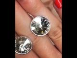 😍🔥красивейшие серьги сталь/ кристаллы Swarovski💎 с нежным оливковым оттенком🔝