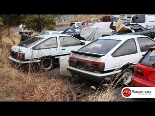 Two Toyota AE86's (Levin & Trueno) in a Junkyard