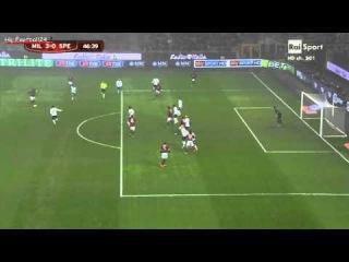 Keisuke Honda First Goal ~ AC Milan vs Spezia 3-0