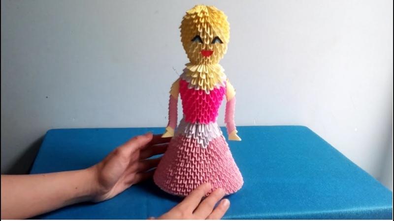 How to make a Aurora princess by 3d origami paper - hướng dẫn làm công chúa bằng giấy origami 3d