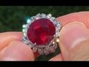 Estate HUGE Natural Red Ruby Diamond 14k White Gold Vintage Cocktail Ring - A141520