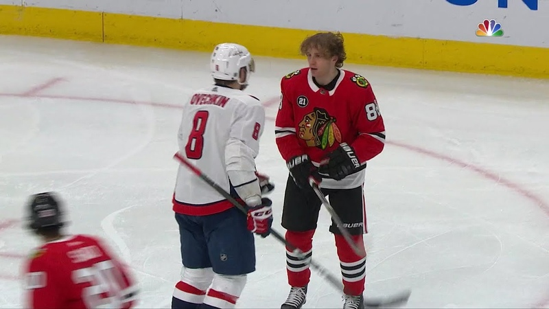 Alex Ovechkin and Patrick Kane Fight and Confront (Ovechkin Knocks Off Kanes Helmet)