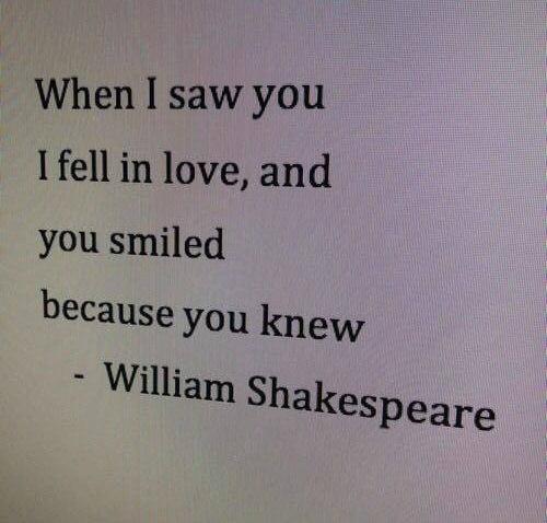 — когда я тебя увидел, я влюбился. и ты улыбнулась, потому что знала.