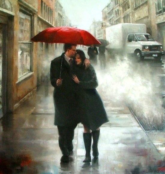 Он взял из её рук зонтик, и она ещё теснее прижалась к нему, и сверху барабанило счастье.
