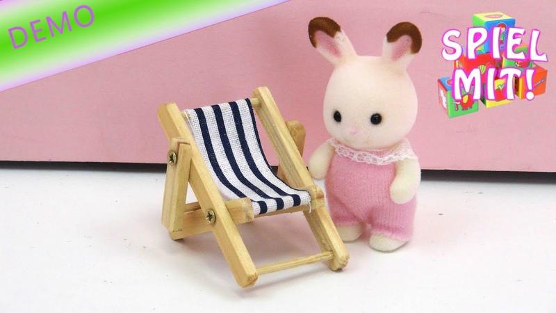 Mini Liegestuhl aus Holz für Puppenhaus