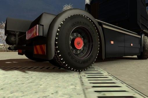 Зимняя резина для Euro Truck Simulator 2 Мод добавляет в игру зимнюю резину