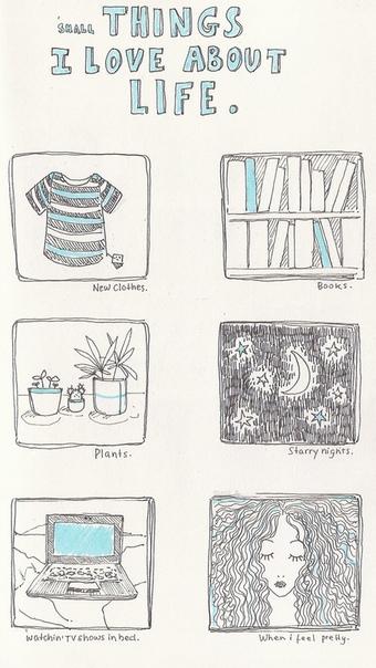 мелочи, которые я люблю в жизни: - новая одежда. - книги. - растения. - звёздные ночи. - просмотр шоу в постельке. - ощущение себя