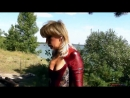 Fetish Alina outdoors in spandex catsuit