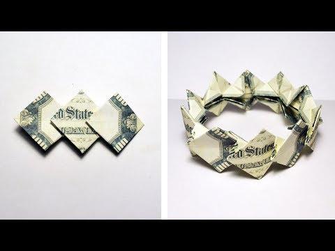 THREE DIAMONDS Money Origami BRACELET out of Dollar bills Tutorial