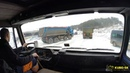 TATRA 815 on snow construction site - truck cab view