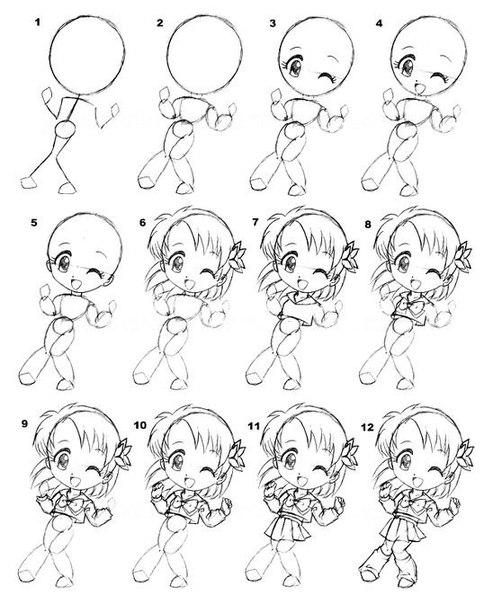 рисование аниме девушек: