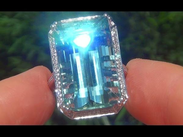 Certified Jewelry FLAWLESS Natural Aquamarine Diamond 14k White Gold Estate Ring - C524