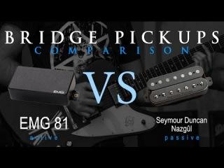EMG 81 vs SEYMOUR DUNCAN NAZGUL - Active Passive Bridge Pickup Metal Tone Comparison / Review