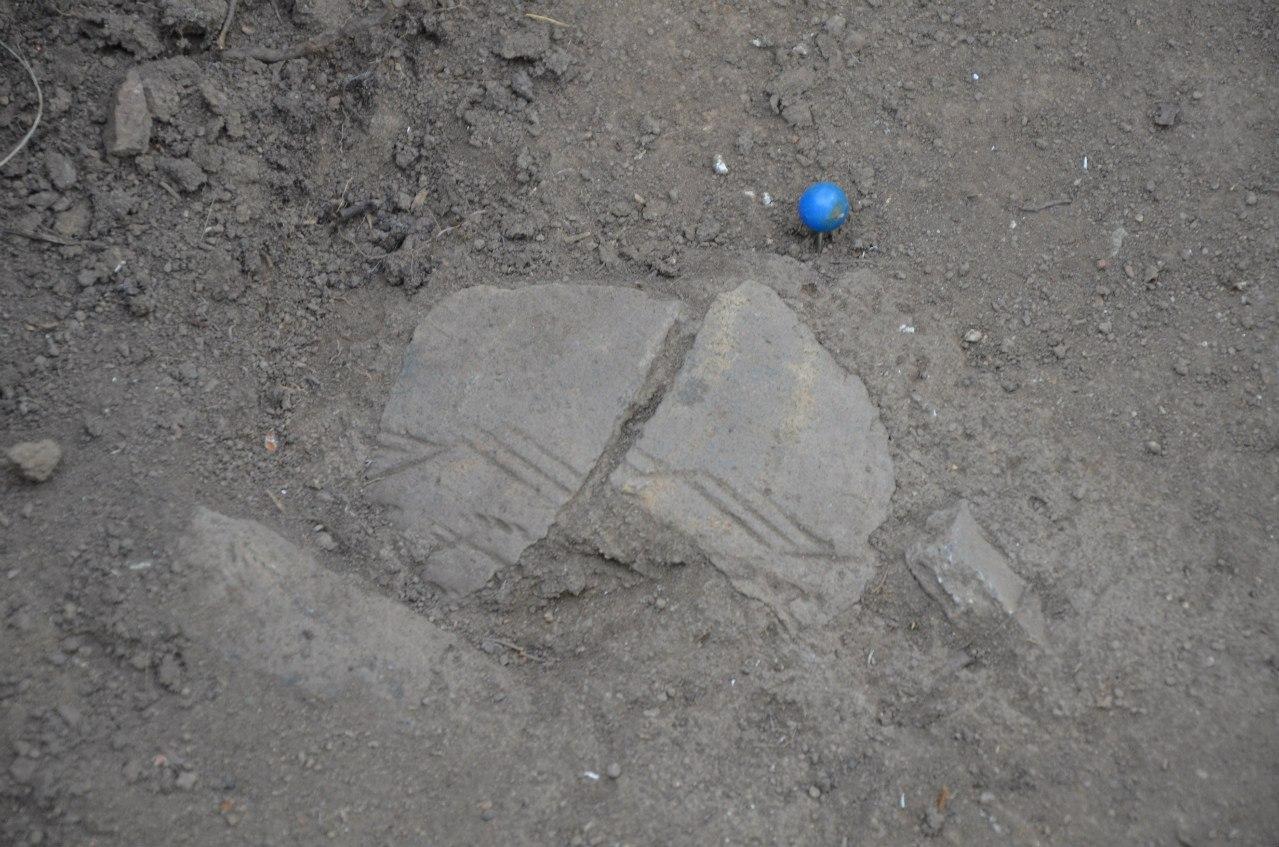 Археология Ильменского заповедника. Раскоп на мысе Кедровом, находка, керамика (06.11.2014)