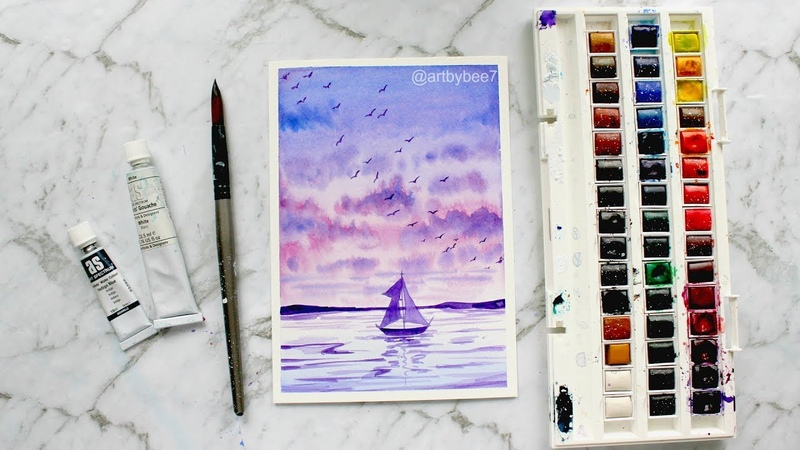 Watercolor Painting 'Sailing with the Sunset'
