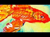 Easy step by step painting of a GOLD FISH for beginners - acrylic paint, fan brush and pallet knife.