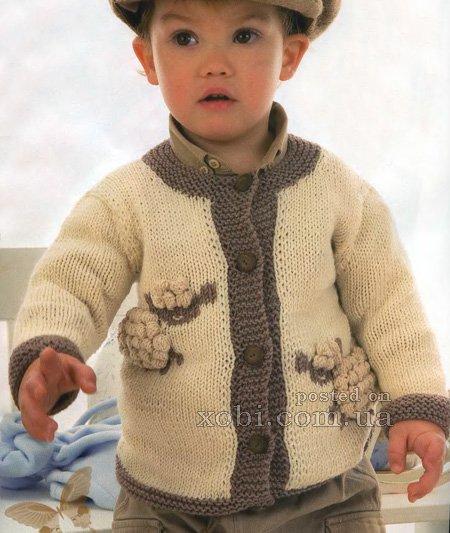 Вязаный спицами жакет для мальчика с овечками…. (3 фото) - картинка