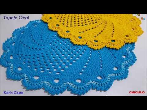 Tapete Oval / Simples / Fácil / Diy / Croche / 62x50cm