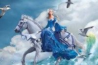 640x480 волна, лошадь, море, Nene thomas, чайки, девушка, конь, арт обои для рабочего стола скачать бесплатно с...
