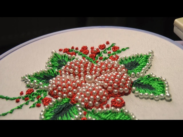 Hand Embroidery PUFFED FLOWER With beads Цветы пуфы
