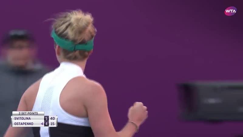 @ElinaSvitolina wins her first-ever set against Ostapenko, 6-4! - - Halfway to the @QatarTennis quarterfinals!
