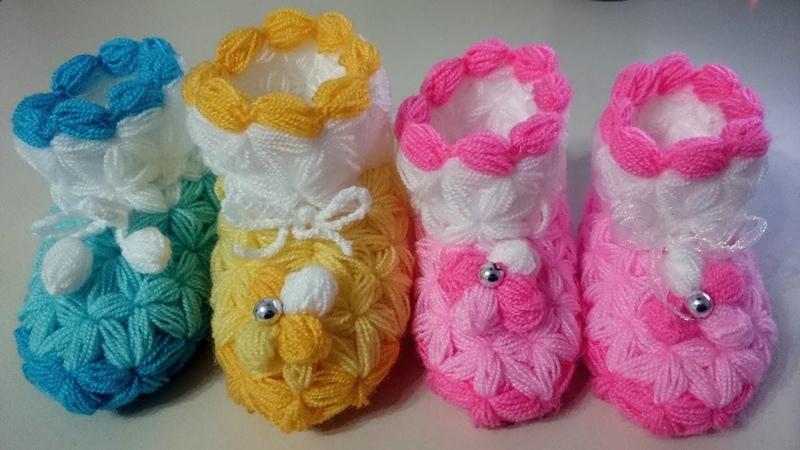 Yeni Doğan Bebek Patik Yapımı Lif Örgüsü ♥Kendi Tasarımım