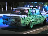 Ruslan's car and night traffic.