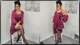 Purple Negligee with Holdups Review With Cassie Clarke - Downblouse Outfit
