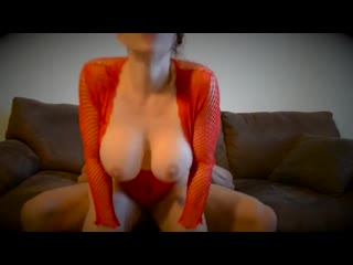 Amateur fit couple sex on couch red lingerie seducing him then hardcore fuck at home