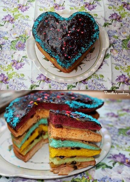 Торт с разноцветными коржами рецепт с фото
