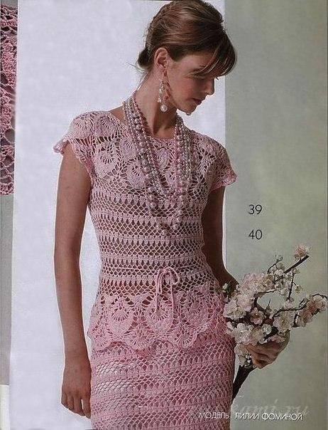 Элегантный костюм вязаный крючком, схема по ссылке: http://ru4kami.ru/vyazhem-od...