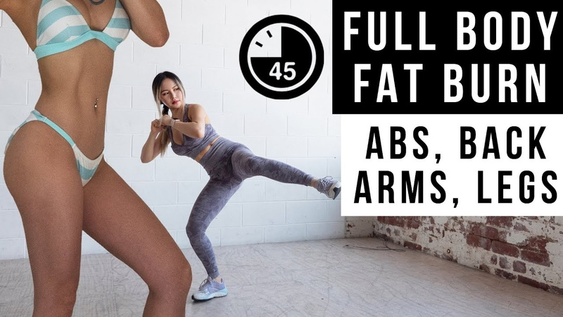 45 Min Full Body FAT BURN Workout | Get Flat Abs, Lean Legs Arms | No Jumping Ver Included